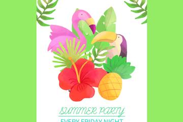 彩绘花鸟夏季派对传单矢量素材