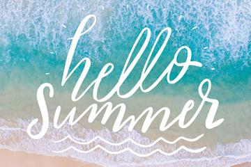 创意你好夏季海浪艺术字矢量图