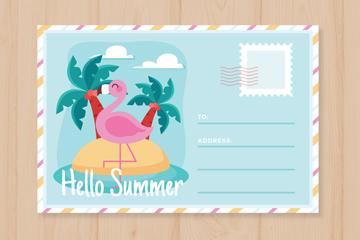 创意火烈鸟夏季假期明信片矢量图