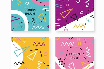 4款彩色抽象图案卡片矢量素材