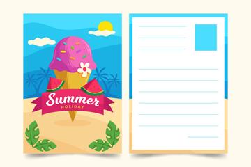 创意夏季冰淇淋明信片矢量素材