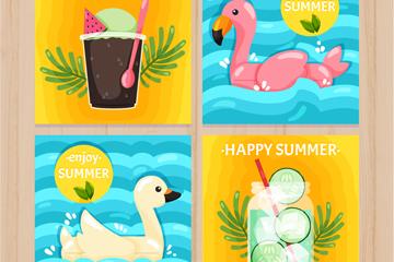 4款彩色夏季假期卡片矢量素材