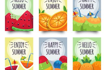 6款彩色夏季食物卡片矢量素材