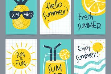 6款清新手绘夏季卡片矢量素材
