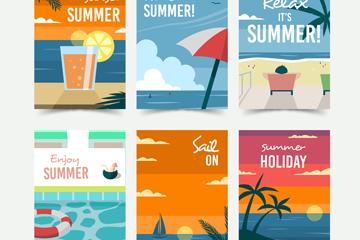 6款��意夏季度假卡片矢量素材