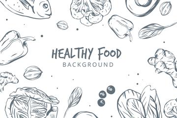 手绘健康食物框架矢量素材