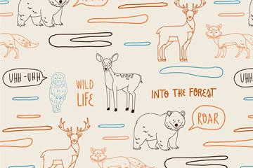 手绘野生动物无缝背景矢量素材