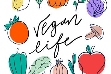 彩色手绘蔬菜素食框架矢量图