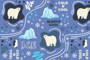 创意北极熊和企鹅无缝背景矢量图