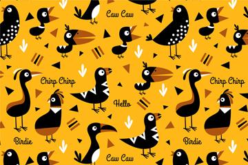 黑色鸟类无缝背景矢量素材