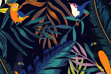 美丽热带花鸟设计矢量素材