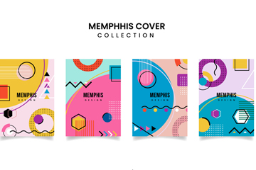 4款彩色孟菲斯风格封面矢量素材