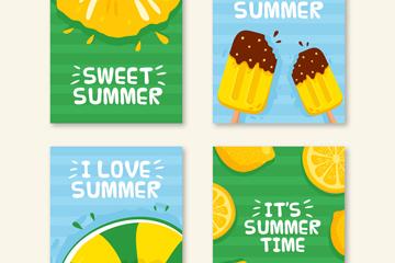 4款彩色夏季卡片矢量素材