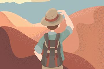 创意沙漠眺望的男子背影矢量素材