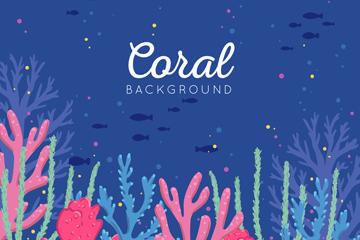 彩色海底珊瑚风景矢量素材