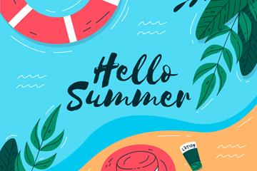 创意大海夏季艺术字设计矢量素材