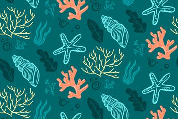 创意珊瑚无缝背景矢量素材