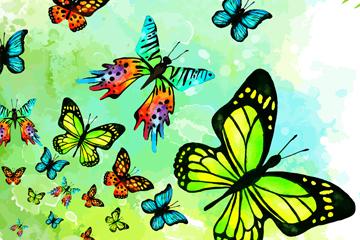 彩绘美丽蝴蝶群矢量素材
