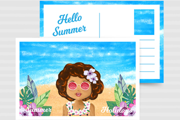 创意海边度假女子明信片矢量素材