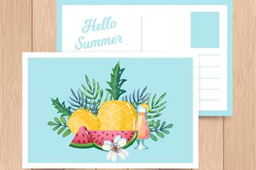 彩色夏季水果明信片矢量素材