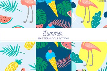 3款彩色夏季花�B食物�o�p背景矢量�D