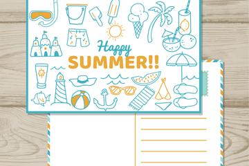 蓝色夏季元素明信片矢量图