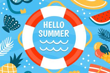 ��意夏季度假游泳圈矢量素材