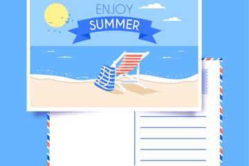 创意夏季大海明信片矢量素材
