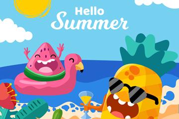 卡通夏季海边度假的水果矢量图