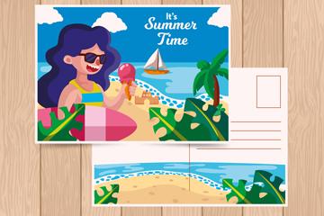 时尚海边度假女子明信片矢量图