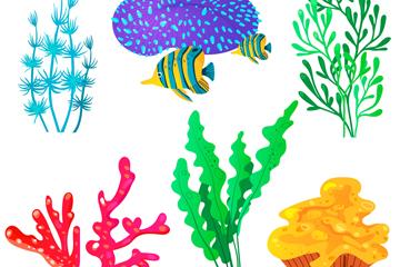 6款彩色珊瑚�O�矢量素材