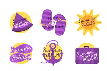 9款紫色夏季�撕�矢量素材