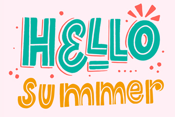 手绘你好夏季艺术字矢量素材