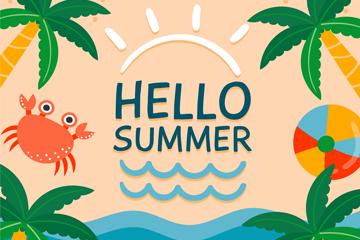彩色夏季度假沙滩矢量素材