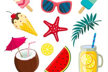 10款创意夏季度假元素矢量素材