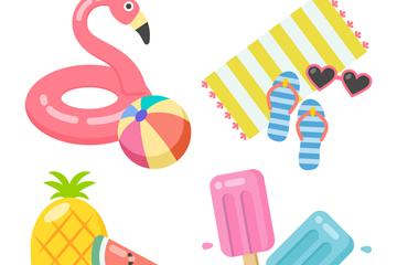 4组彩色夏季度假物品矢量素材