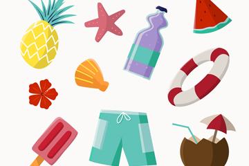 10款夏季沙滩度假元素矢量素材