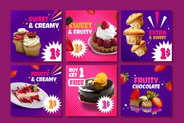 6款彩色甜点促销卡片矢量素材