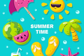 7款彩色夏季元素矢量素材