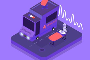 立体救护车设计矢量素材