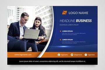 创意商务人物企业传单矢量素材