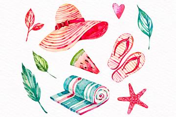10款手绘夏季元素矢量素材