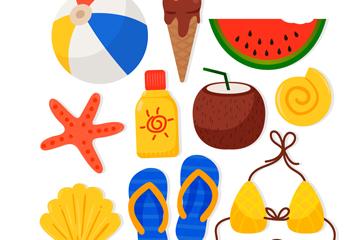 10款彩色质感夏季元素矢量图