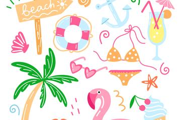 12款手绘夏季度假物品矢量素材