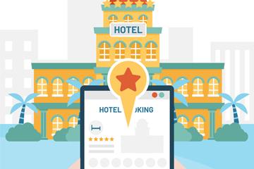 创意预订酒店平板电脑矢量素材