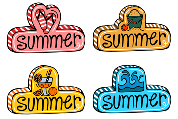 4款彩�L立�w夏季�撕�矢量素材