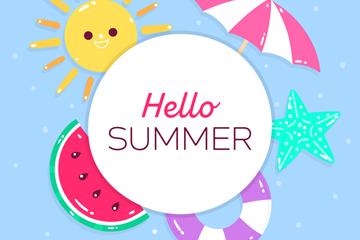 可爱夏季元素框架矢量素材