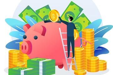 创意往猪存钱罐里放金币的男子矢量图