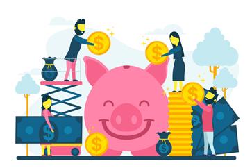 创意笑脸猪存钱罐和人物矢量图