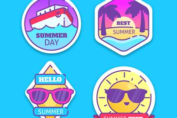 4款彩色夏季��|�撕�矢量�D